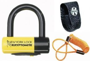 Kryptonite New York Liberty Disc Lock - With Reminder Cable - Yellow Sold Secure Gold - Patent-pending Integrated KryptoLok series 2 Lock head with talon deadbolt