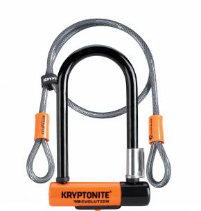 Kryptonite Evolution Mini 7 Lock With 4 Foot Cable And Flexframe Bracket Sold Secure Gold - Patent-pending Integrated KryptoLok series 2 Lock head with talon deadbolt